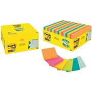 Post-it® Super Sticky Notes , 3 in x 3 in , in Rio de Janeiro and Bora Bora colors, 48 Pads