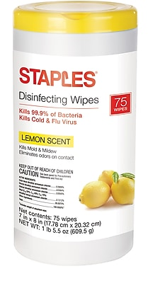 Staples Disinfecting Wipes, Lemon Scent, 75 Wipes