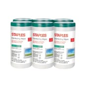 Staples Disinfecting Wipes, Fresh Scent 75 Wipes/Canister, 6 Canisters/Carton