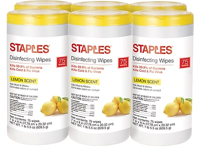 Staples Disinfecting Wipes, Lemon Scent, 75 Wipes, 6/Case