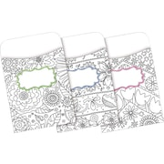 Barker Creek Color Me! In My Garden Peel & Stick Library Pockets, 30 Pieces Per Pack (BC1243)