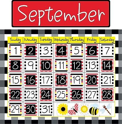 Barker Creek Buffalo Plaid & Wide Stripes Calendar Chart Set, 49 Pieces Per Set (BC532)