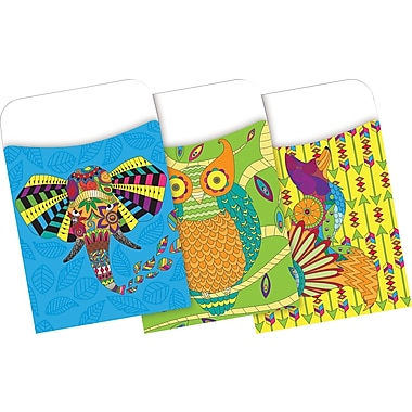 Barker Creek Bohemian Animals Peel & Stick Library Pockets, 30 Pieces Per Pack (BC1242)
