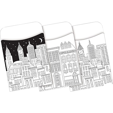 Barker Creek Color Me! Cityscapes Peel & Stick Library Pockets, 30 Pieces Per Pack (BC1244)