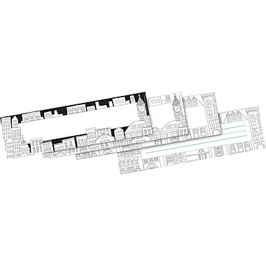 Barker Creek Color Me! Cityscapes Double-Sided Name plates & Bulletin Board Signs, 36 Pieces Per Pack (BC1442)