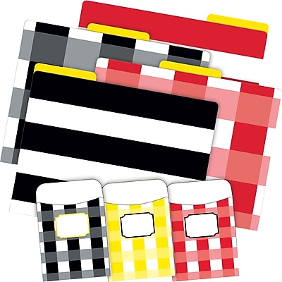 Barker Creek Buffalo Plaid & Wide Stripes Folder & Pocket Set, 42 Pieces Per Set (BC3535)