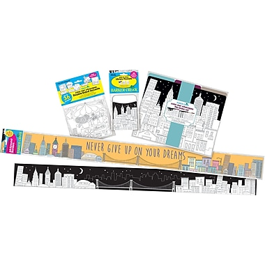 Barker Creek Color Me! Cityscapes Classroom Decor Set, 78 items plus 35-ft of double-sided trim (BC3510)