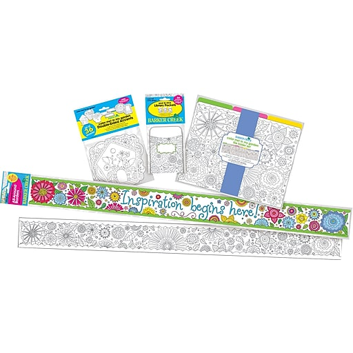 Barker Creek Color Me! In My Garden Classroom Decor Set, 78 items plus 35-ft of double-sided trim (BC3509)