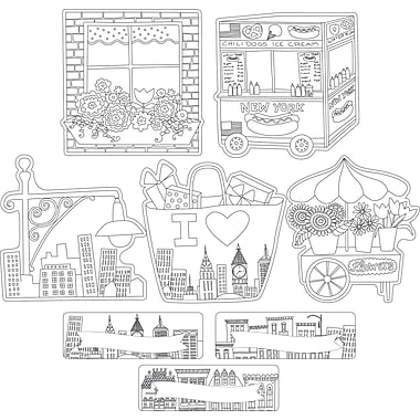 Barker Creek Color Me! Cityscapes Double-Sided Accents, 36 Pieces Per Pack (BC2217)