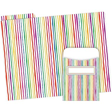 Barker Creek Stripes Folder & Pocket Set, 42 Pieces Per Set (BC3595)