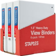 "1-1/2"" Staples® Heavy-Duty View Binder with Slant-D™  Rings, White, 6-pack, Tear-away Carton"