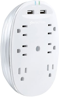 360 Electrical Studio2.4™ 6 Outlets 2 USB Surge Protector, White