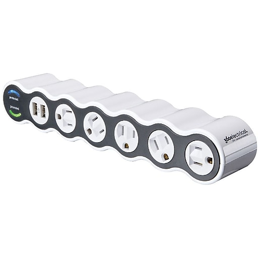 360 Electrical Powercurve2.1® 5 Rotating Outlets 2 USB Surge Protector