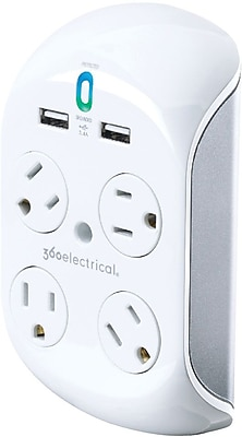 360 Electrical Revolve3.4® 4 Rotating Outlets 2 USB Surge Protector