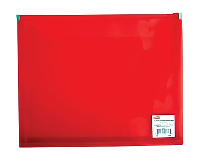 Staples® Poly Zip Envelopes, Red, Letter Size