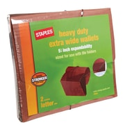 "Staples® Extra-Wide Standard Wallets, 5-1/4"" Expansion, Letter, Brown, 2/PK (18937)"