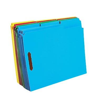 Staples Colored Reinforced Tab Fastener Folders, Letter, Assorted, 50/Box