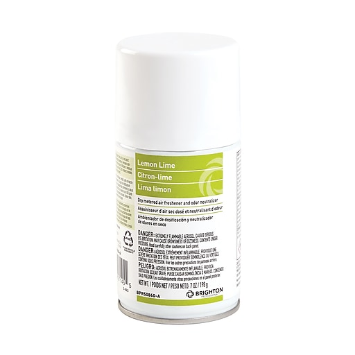 Brighton Professional™ Aerosol Refill Metered Air Freshener, Lemon Lime, 7 Oz., 4/Ct (BPR50860-A)