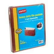 """StaplesHeavy Duty File Cabinet Pocket, 3 1/2"""" Expansion, Letter Size, Brown (FC1524E4)"""