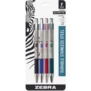 Zebra Stainless Steel Retractable Ballpoint Pens, 0.7mm, Assorted, 4/Pk (27174)