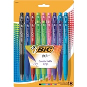 BIC BU3 Retractable Ball Pen, Fashion, 18 Pk