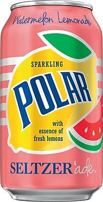 Polar® Watermelon Lemonade Seltzer'ade, 12 oz. Cans, 24/Pack (1000376)