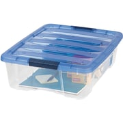IRIS® 26.9 Quart Stack & Pull Modular Box, Clear with Navy Lid (100364)