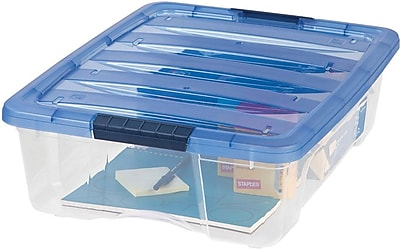 IRIS® 26.9 Quart Stack & Pull Modular Box, Clear with Navy Lid, 6.5