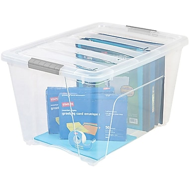 IRIS® 54 Quart Stack & Pull Box, Clear / Gray