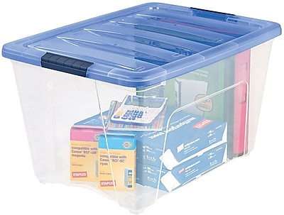 IRIS® 54 Quart Stack & Pull Box, Clear / Navy