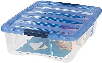 IRIS® 26 Quart Stack & Pull Box, Clear / Navy