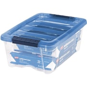 IRIS® USA, Inc. 12.9-Quart Stack & Pull Modular Box, Clear with Navy Lid (100306)