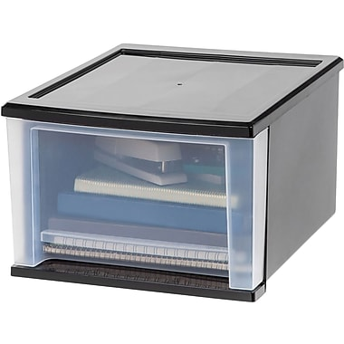 IRIS® 17 Quart Medium Stacking Drawer, Black (129891)
