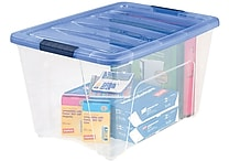 IRIS® 54-Quart Stack & Pull Modular Box, Clear with Navy Handles (100242)