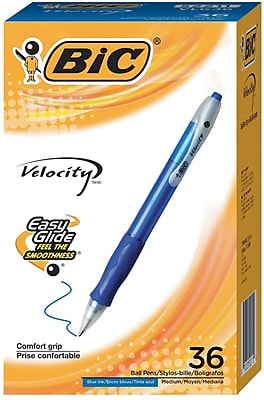 BIC Velocity Retractable Ballpoint Pens, Blue Ink, 36/Pack (VLG361BLU)