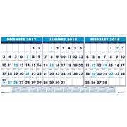 2018 House of Doolittle 17 x 8 Three Month View Wall Calendar Horizontal Blue (3647)