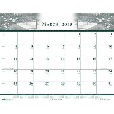 2018 House of Doolittle 22 x 17 Desk Pad Calendar Illustrated Green/Blue/Brown (140)
