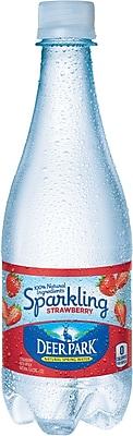 DEER PARK Sparkling Natural Spring Water, Strawberry 16.9-ounce Plastic Bottle, 24/Case