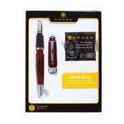 Cross Bailey Red Fountain Pen with Medium Nib Gift Set with Ink Cartridges
