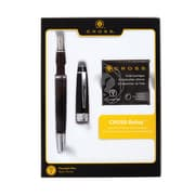 Cross Bailey Black Fountain Pen with Medium Nib Gift Set with Ink Cartridges