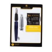 Cross Calais Chrome/Blue Fountain Pen with Medium Nib Gift Set with Ink Cartridges