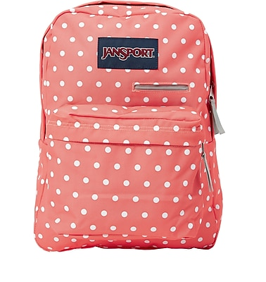 Jansport Digibreak Backpack, Coral Sparkle White Dots