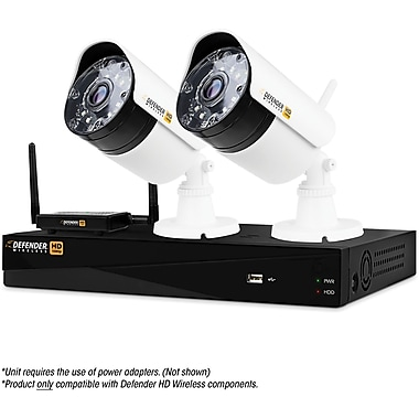 Defender® Wireless HD 1080p 4 Channel 1 TB DVR Security System, 2 Bullet Cameras (WHD1T4B2)