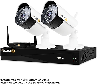 Defender Wireless HD 1080p 4 Channel 1TB DVR Security System with 2 Bullet Cameras