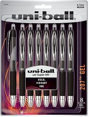 uni-ball® 207™ Retractable Gel Pens, Medium Point (0.7mm), Black (1756584)