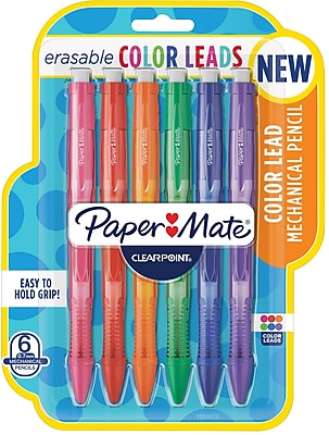 Paper Mate Clearpoint Color Lead Mechanical Pencils, 0.7mm, Assorted Colors, 6 Count (1984678)
