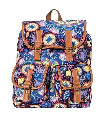 Staples Quilted Rucksack Backpack with Blue and Purple Print (51043)