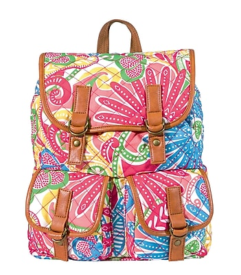 Staples Quilted Rucksack Backpack with Pink and Green Backpack (51045)