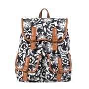 Staples Canvas Rucksack Backpack with Black and White Floral Print Backpack (51044)
