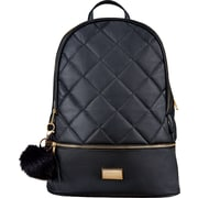 Classic PU Black Backpack with Quilting and Fur Pom Pom